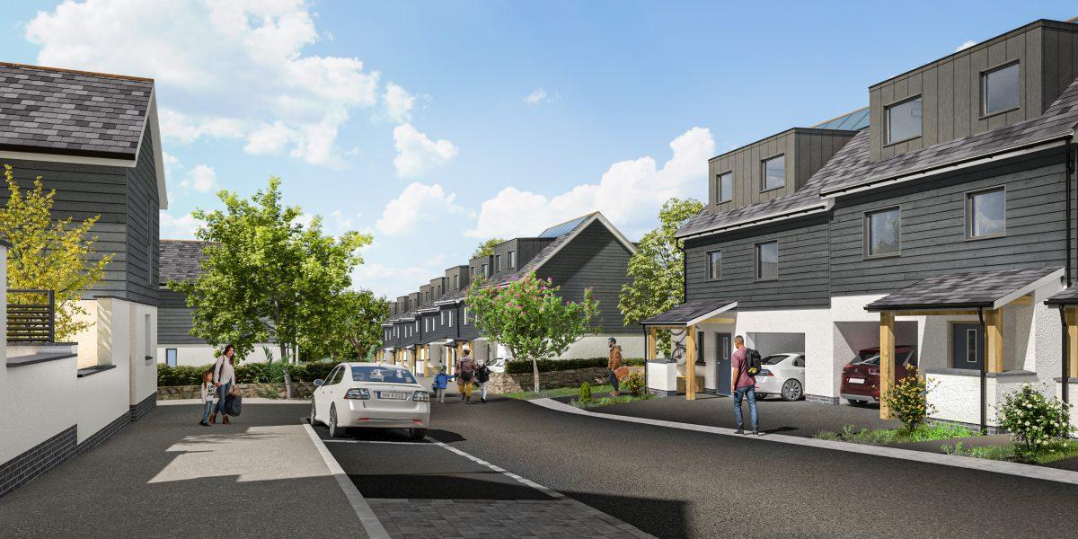 A street scene from Treveth's new development at Tolgus
